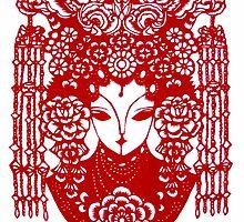 chinese bride with decorative head dress by kaye terrelonge