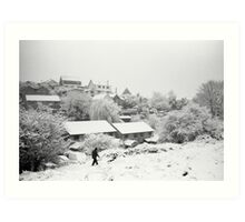 Walking in the snow on Troopers Hill Art Print