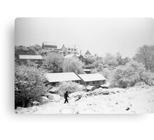 Walking in the snow on Troopers Hill Metal Print