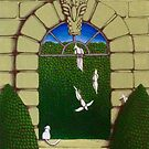 Gothic Arch and Birds by Donna Huntriss