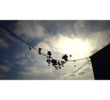 Hanging By A Shoelace  Photographic Print
