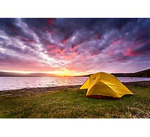 Our Tent at Sunset - Borgarvirki, Iceland Photographic Print