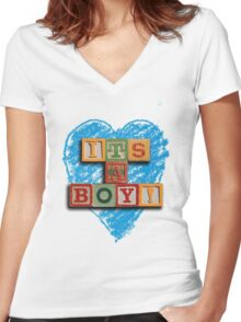 It's A Boy! Women's Fitted V-Neck T-Shirt