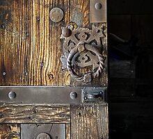 Wood Door ~ Metal Hardware by Lucinda Walter