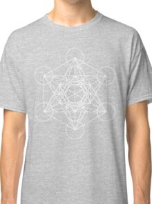 Metatron's Cube - Sacred Geometry White Ink Classic T-Shirt