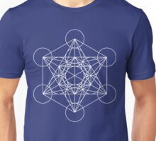 Metatron's Cube - Sacred Geometry White Ink Unisex T-Shirt