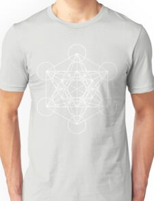 Metatron's Cube - Sacred Geometry White Ink Unisex T-Shirt