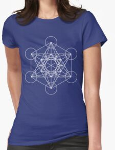 Metatron's Cube - Sacred Geometry White Ink Womens Fitted T-Shirt