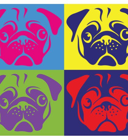 Pug Pop Art By AiReal Apparel Sticker