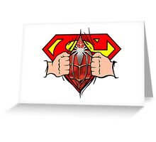 Superman becomes Spiderman Greeting Card