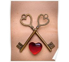 two keys and heart over old paper Poster