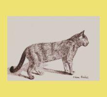Retro Cat Sketch (Old Nostalgic Book Style) Kids Clothes