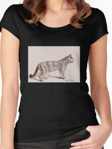 Retro Cat Sketch (Old Nostalgic Book Style) Women's Fitted Scoop T-Shirt