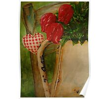 Still life with tulips in enamel pot on chair  Poster