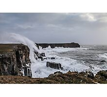 Rough Sea and High Cliffs at St Govan's Head, Pembrokeshire Photographic Print