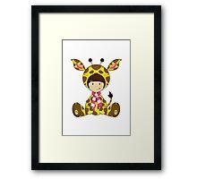 Cute Cartoon Giraffe Girl Framed Print