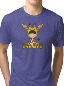 Cute Cartoon Giraffe Girl Tri-blend T-Shirt