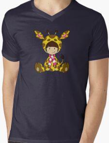 Cute Cartoon Giraffe Girl Mens V-Neck T-Shirt