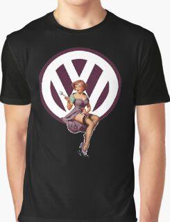 Volkswagen Pin-Up Wrenching Wanda (dark purple) Graphic T-Shirt