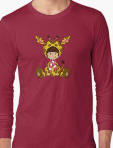 Cute Cartoon Giraffe Girl Long Sleeve T-Shirt