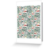 pattern with cats and mushrooms Greeting Card