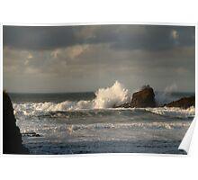 Crashing Waves at Trevone Bay Poster