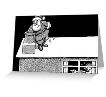 Santa on the roof Greeting Card