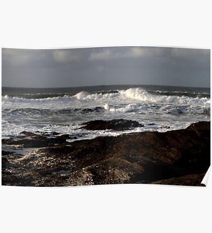 Rocks and Waves, Trevone Bay, Cornwall Poster