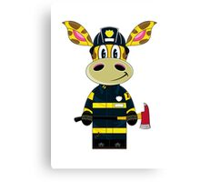 Cute Fireman Giraffe Cartoon Canvas Print