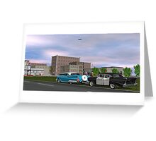 Nostalgic Route 66 Small Town Traffic Stop Greeting Card