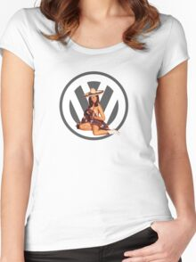 Volkswagen Pin-Up Senorita (gray) Women's Fitted Scoop T-Shirt