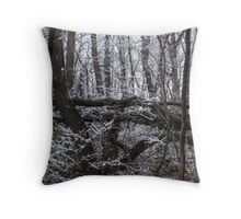 Contrast of White Snow Against the Dark Trees Throw Pillow