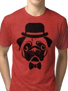 Pug in Bowler Hat and Bow Tie by AiReal Apparel Tri-blend T-Shirt