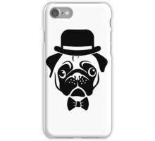 Pug in Bowler Hat and Bow Tie by AiReal Apparel iPhone Case/Skin