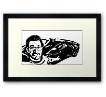 Tai Lopez In His Garage Black & White Framed Print