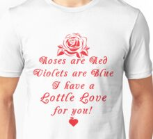 Roses are Red, Violets are Blue Lottle Love Red Unisex T-Shirt
