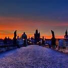 Charles bridge at dawn by FLYINGSCOTSMAN