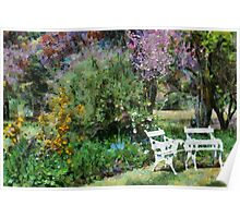 Chairs in garden setting Poster