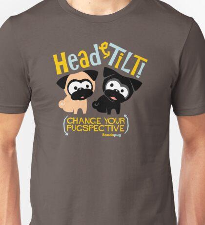 Pug Head Tilt (gold & blue) Unisex T-Shirt