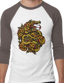 Traditional Snake Tattoo Design Men's Baseball ¾ T-Shirt