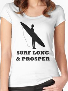 SURF LONG AND PROSPER Women's Fitted Scoop T-Shirt