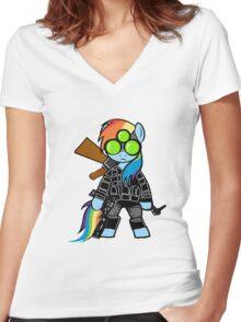 SPLINTER CELL PONY Women's Fitted V-Neck T-Shirt