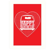 Valentine's Day VW Camper Bay Red Art Print