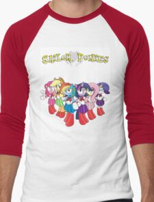 The Sailor Ponies Are Here! Men's Baseball ¾ T-Shirt