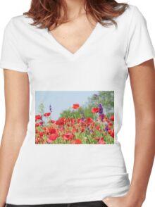 poppy field Women's Fitted V-Neck T-Shirt