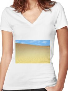sand dune desert Women's Fitted V-Neck T-Shirt