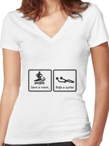 Safe a wave, ride a surfer. Women's Fitted V-Neck T-Shirt