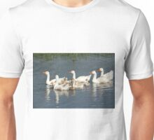 white geese family swimming Unisex T-Shirt