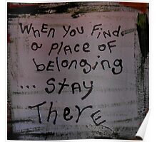a place of belonging Poster