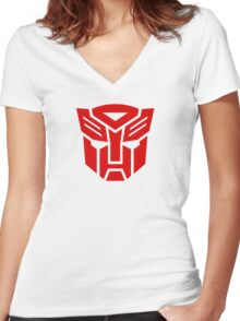 Transformers Autobot Logo Women's Fitted V-Neck T-Shirt